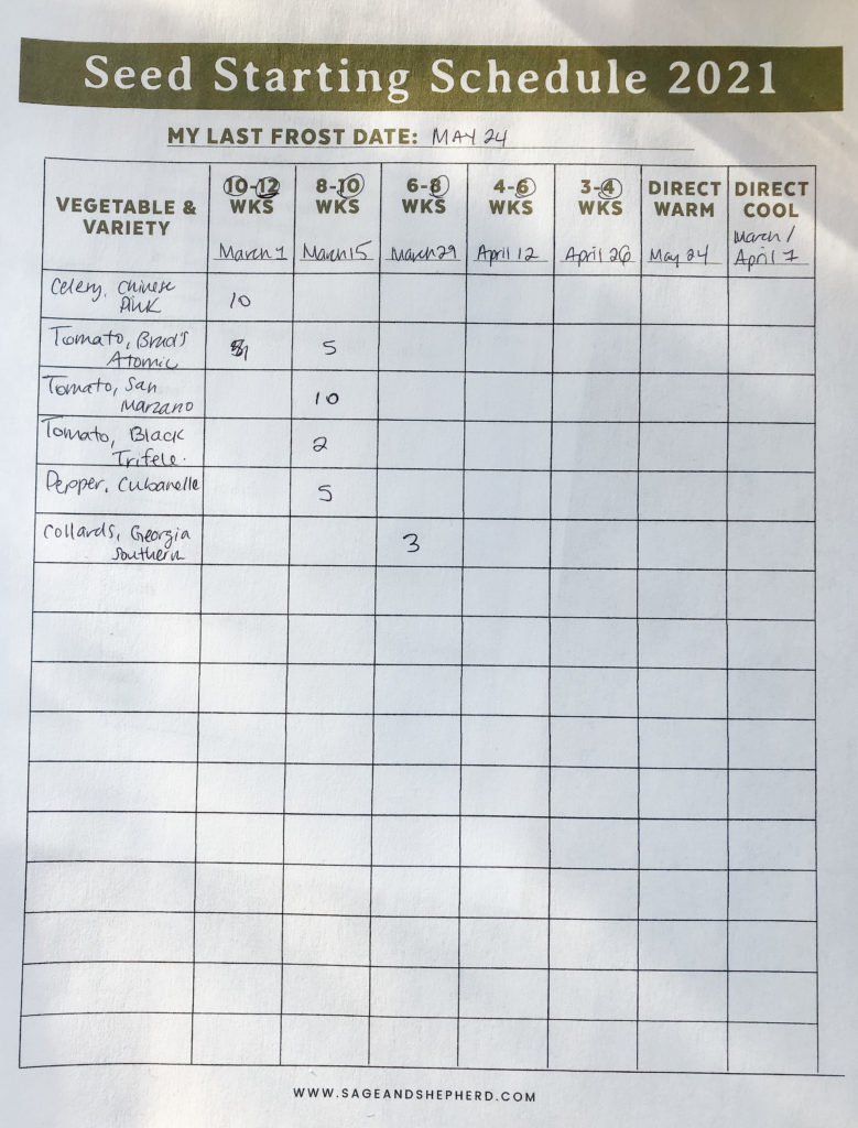 diy seed organization and seed starting schedule printable