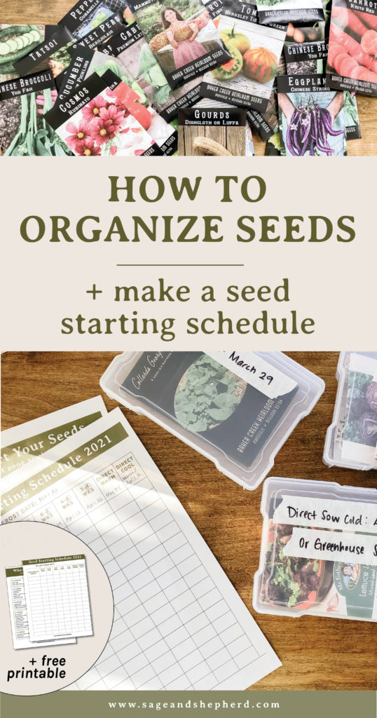 seed organization and free seed starting schedule pritnable